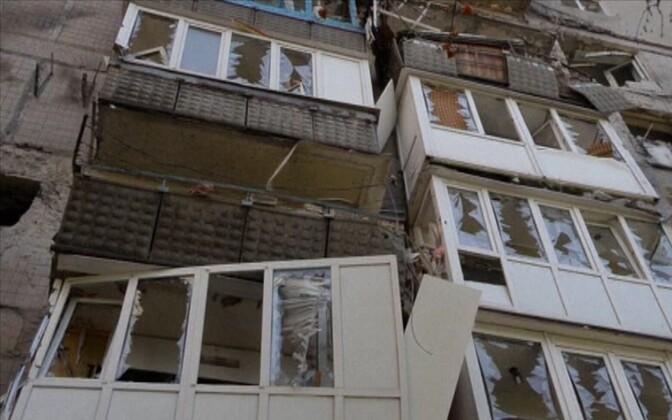 Последствия военных действий в Донецке.