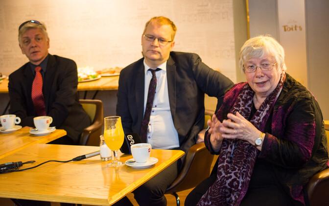 Estonian MEPs Indrek Tarand, Urmas Paet, and Marju Lauristin.
