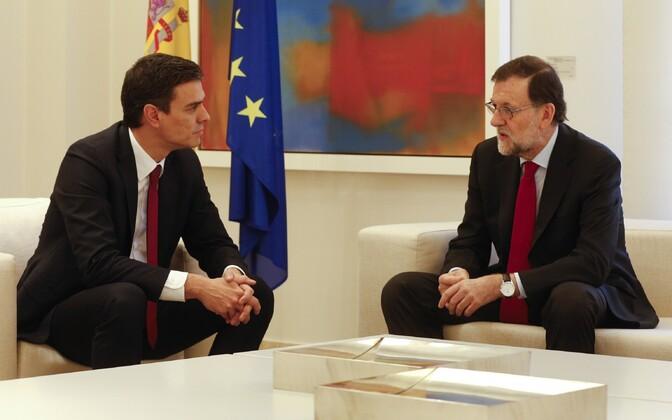Sotsialistide liider Pedro Sanchez ja senine peaminister Mariano Rajoy.