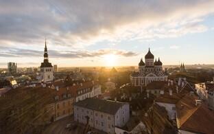 Вид на Таллинн с башни Домского собора.
