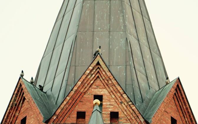 Linnalinnud Tartu Peetri kiriku tornidel.
