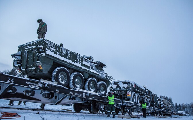 The arrival of US military equipment at Tapa Army Base.