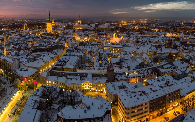 View overlooking Tallinn's medieval Old Town.