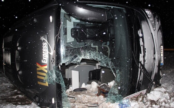 Lux Express coach crashed on icy road with 28 people on board