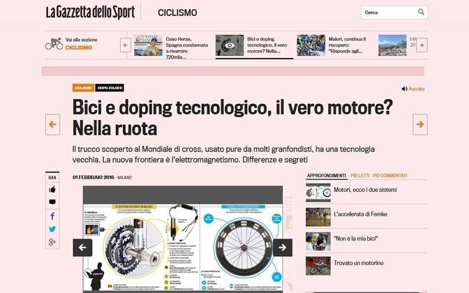 Itaalia väljaanne Gazzetta dello Sport kirjutas, et petuskeemile panustavad ratturid kasutavad kaasaegsemat võtet – elektromagnetilist esiratast.