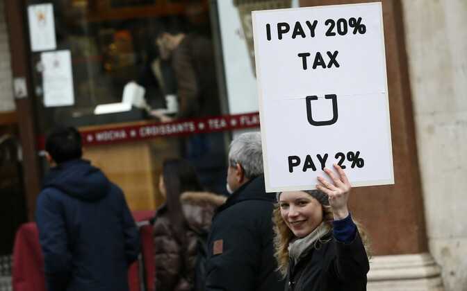 Protest by London cab drivers against Uber in central London, 10 February