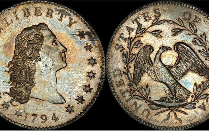 USA esimene dollar Flowing Hair