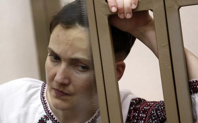 Nadia Savtšenko Rostovi oblastis Donetski linnas toimuval kohtuistungil, käesoleva aasta 1. veebruar.