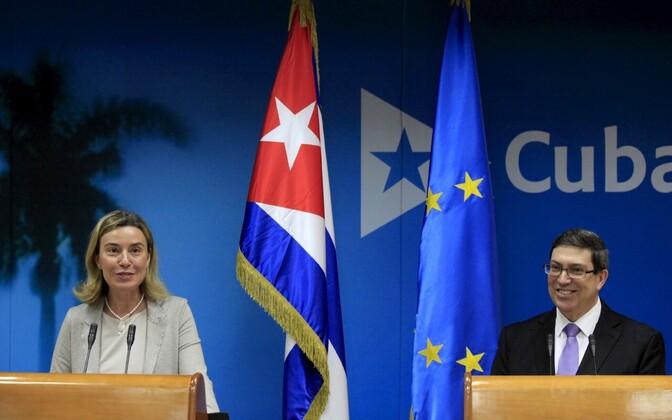 EL-i välispoliitika juht Federica Mogherini ja Kuuba välisminister Bruno Rodriguez Parrilla.