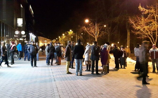 Public show of support on Küüni Street, one week after an attack in central Tartu.