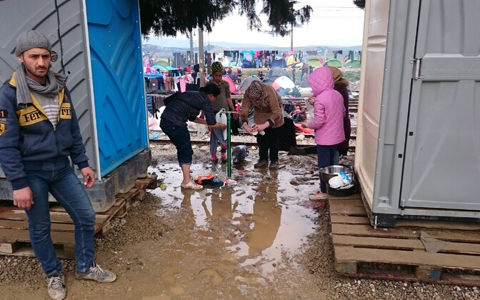 Refugees at the refugee camp in Idomeni, Greece, March 2016.