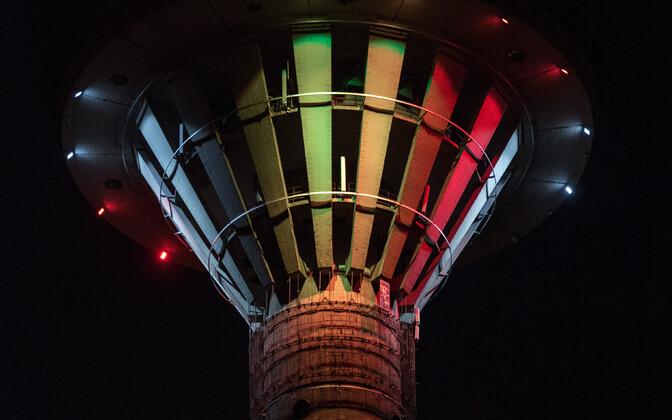 Tallinna teletorn Belgia lipuvärvides