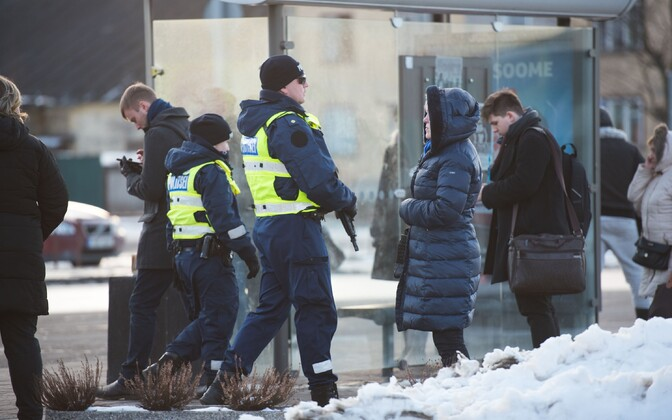 Police patrols at Tallinn Bus Station.