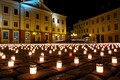 Candles lit in Tartu's Town Hall Square in remembrance of Estonians deported in 1949.