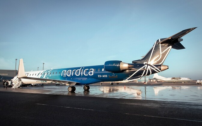 Jet in Nordica livery at Tallinn Airport.