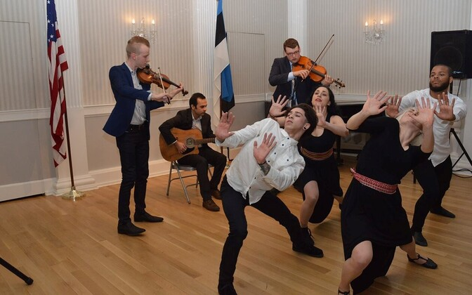 Dance performance under the direction of Diina Tamm, with accompaniment from Valev Laube (violin), Samay Kapadia (guitar), and Evan Basta (viola), Friday, March 25, 2016.