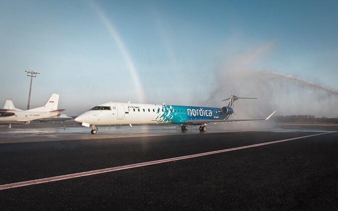 Bombardier CRJ900 in Nordica livery.