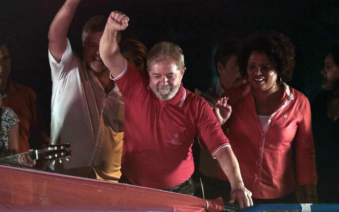 Lula da Silva rahvakogunemisel.