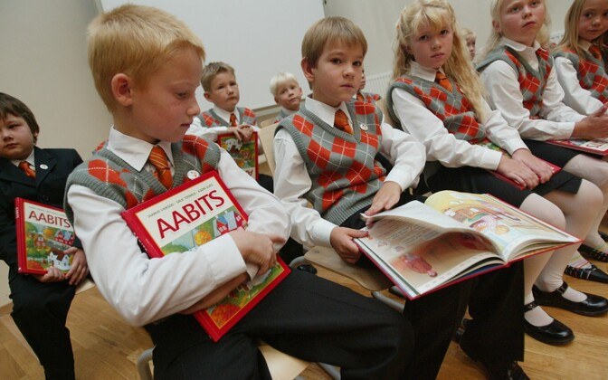 First grade students on their first day of school at Tartu Private School.