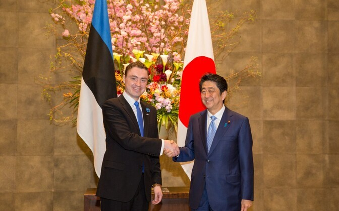Estonian PM Taavi Rõivas met with Japanese PM Shinzō Abe in Tokyo. April 8, 2016.