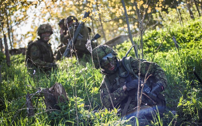 Soldiers during the 2014 Spring Storm annual military exercise in Estonia. In 2017, more than 9,000 personnel are participating.