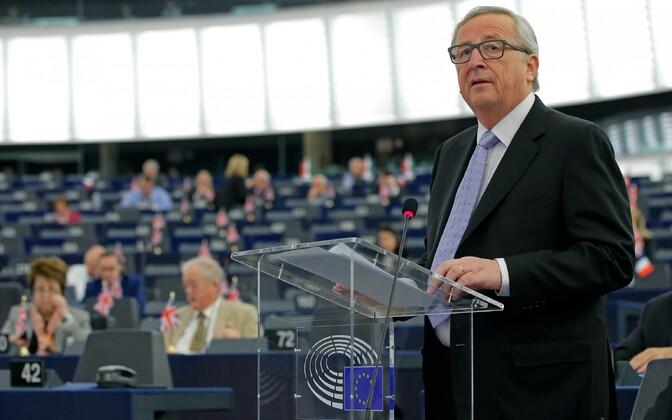 Euroopa Komisjoni juht Jean-Claude Juncker Euroopa Parlamendi ees esinedes.
