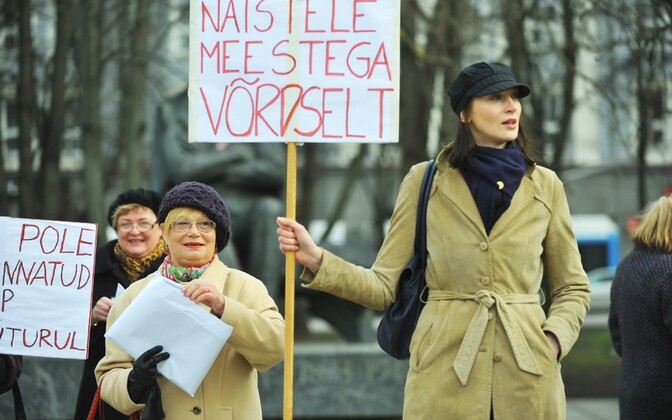 Women of all ages participated in a protest against Estonia's record-high gender pay gap in Tallinn's Tammsaare Park on April 19, 2012. The gap has yet to shrink considerably.