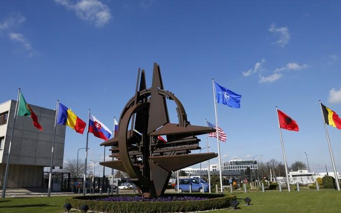 NATO liikmesriikide lipud Brüsselis.
