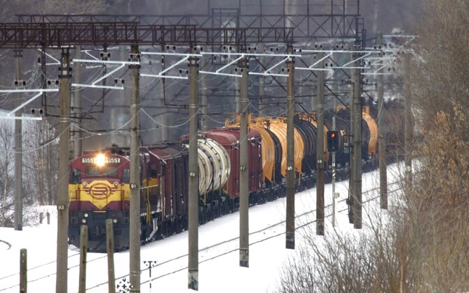 Freight train in Estonia.