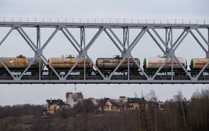 A freight train crossing the Estonian-Russian border in Narva.