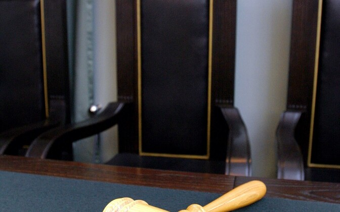 A gavel before the seat of the Chief Justice of the Supreme Court of Estonia.