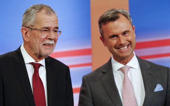 Austria presidendivalimiste viimases voorus võistelnud kandidaadid van der Bellen ja Hofer