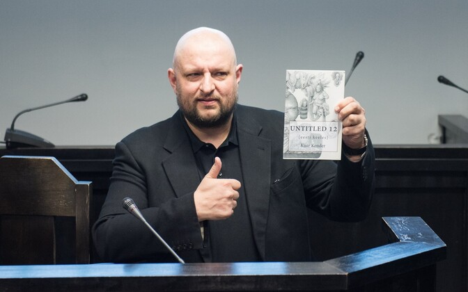 Author Kaur Kender with his work