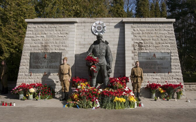 The Bronze Soldier monument at the Defence Forces Cemetery of Tallinn on May 9, 2012.