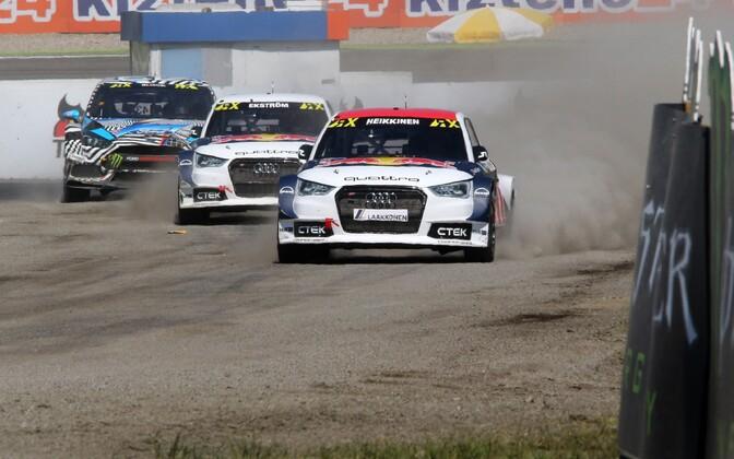 Toomas Heikkinen, Mattias Ekström ja Ken Block finaalis.