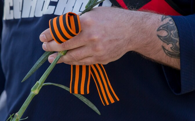 Many ethnic Russians celebrate Victory Day on May 9, often wearing distinctive orange and black striped Ribbons of St. George, a pro-Russian symbol adopted during the 21st century.