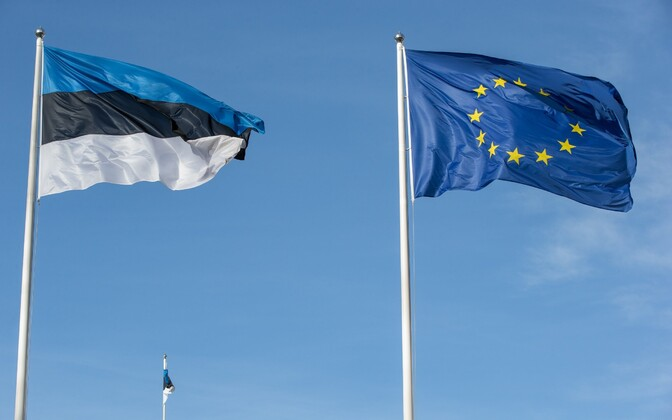 The flags of Estonia and the EU.