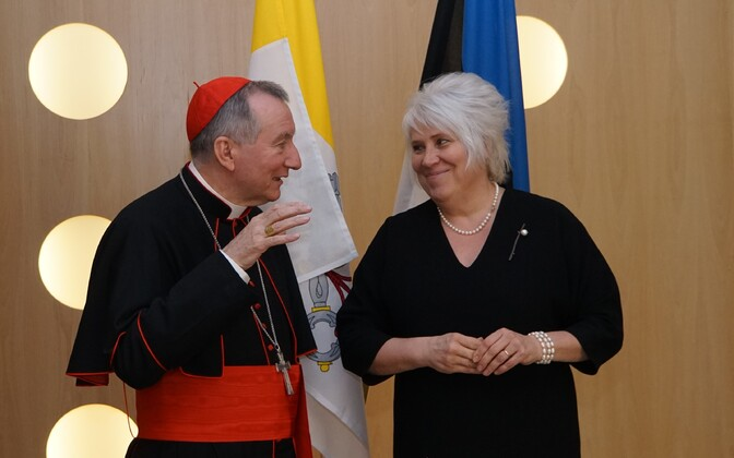 Cardinal Secretary of State Pietro Parolin, Minister of Foreign Affairs Marina Kaljurand