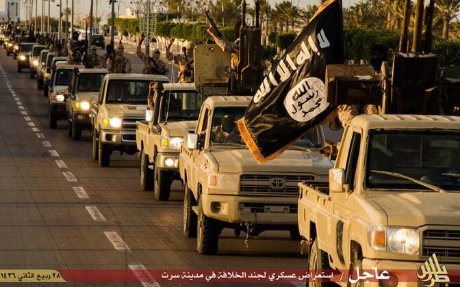 ISIS-e võitlejate paraad Liibüas Sirte linnas 2015. aasta veebruaris.