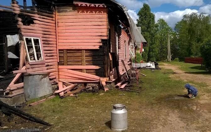 Tulekahju tagajärjed Piirissaarel käesoleva aasta mais.