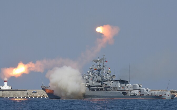 Vene sõjalaev Mustal merel Sevastopoli sadamas.