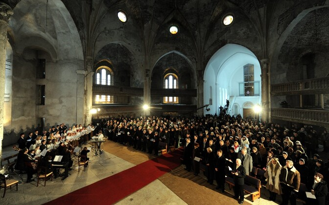 Estonian Independence Day celebration at the renovated St. Alexander's Cathedral in Narva. February 24, 2009.