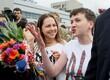 Nadia Savtšenko taas Ukraina pinnal, Borõspoli lennuväljal 25. mail.