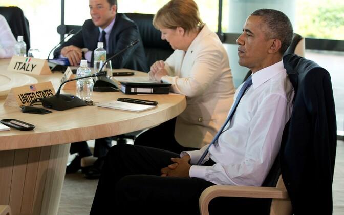 USA president Barack Obama, Saksa kantsler Angela Merkel ja Itaalia peaminister Matteo Renzi G7 tippkohtumisel Jaapanis.