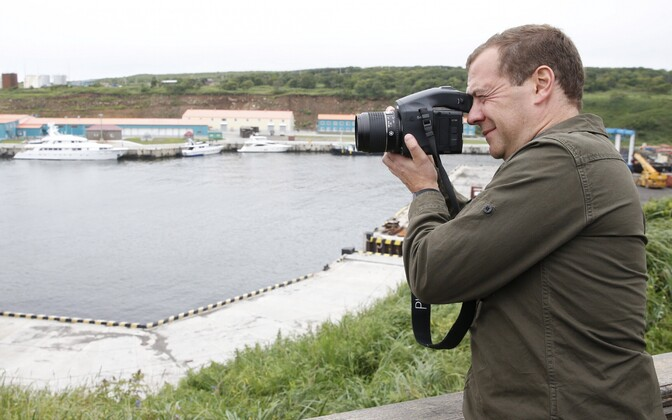Venemaa peaminister Dmitri Medvedev mullu Iturupi saarel