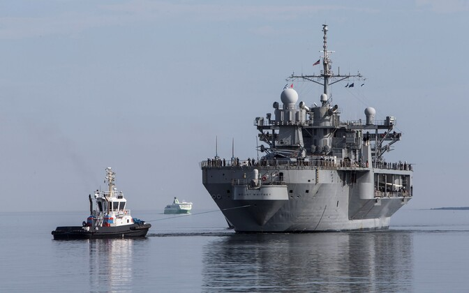 The USS Mount Whitney arriving in Tallinn for a previous visit in 2016.