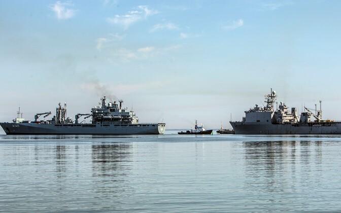 Õppusel BALTOPS osalevad laevad Muuga sadamas.