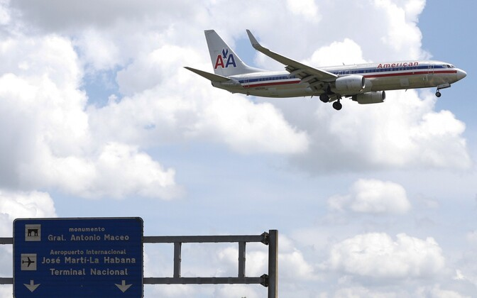 American Airlines'i lennuk maandumas Havannas Jose Marti lennujaamas.