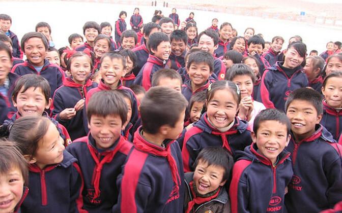 Hiina koolilapsed.