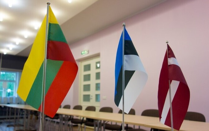 Flags of the Baltic States (left to right) Lithuania, Estonia, Latvia